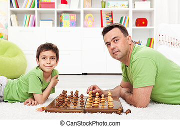 vater sohn, spielenden schach