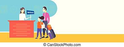 vater tochter, touristen, mit, koffer, ankommen, zu, hotel, einchecken, frau, empfangsdame, registrierung, an, rezeptionsplatte, gastfreundschaft- personal, urlaubsreise, begriff, horizontal, banner