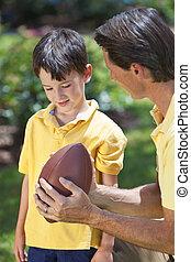 vater, unterricht, seine, sohn, spielen, amerikanische , fußball