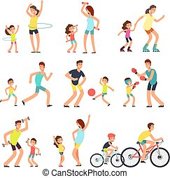 vati, kinder, leute, mutti, family., outdoor., fitness, freigestellt, sport, vektor, eltern, aktivität, übungen, sport, kinder, glücklich
