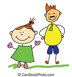 vati, zeichen, karikatur, kind, hand, zeichnung, glücklich