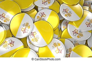 Vatican Badges Background - Pile of Vatican Flag Buttons.