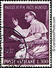 VATICAN - CIRCA 1965: A stamp printed in Vatican shows Pope Paul VI, born Giovanni Battista Enrico Antonio Maria Montini