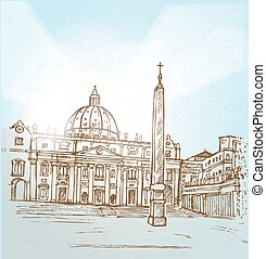 Vatican famous architecture  outlined vector sketch separated on
