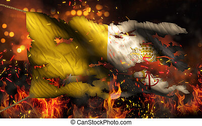 Vatican City Burning Fire Flag War Conflict Night 3D