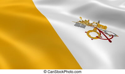 Vatican City flag in the wind