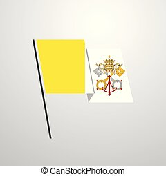 Vatican City Holy See waving Flag design vector background