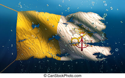 Vatican City Under Water Sea Flag National Torn Bubble 3D