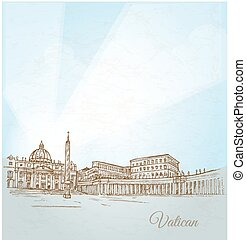 vatican, fond, ville, main, dessiner