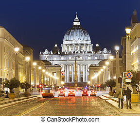 Vatican holy city at night
