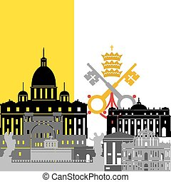 Vatican - State flags and architecture of the country....