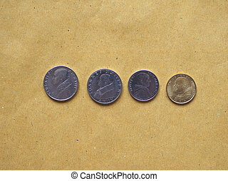 Vatican Lira coins money (VAL), currency of Vatican City State bearing the portrait of different popes