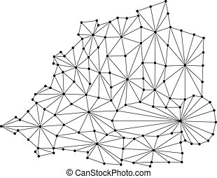 Vatican map of polygonal mosaic lines network, rays and dots vector illustration.