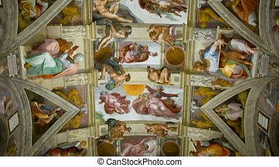 vatican, plafond, chapelle, ville, sistine
