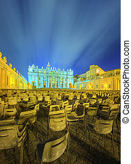 Vatican. Saint Peter's Square at night, Rome
