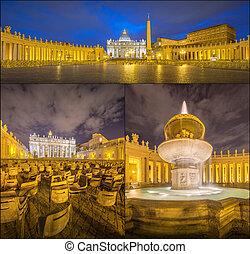Vatican. Saint Peter's Square at night, Rome