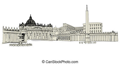 Vatican sketch hand drawn image. Vector illustration.