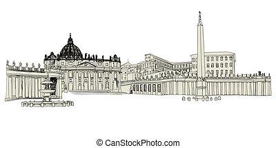 Vatican sketch hand drawn image. Vector illustration.