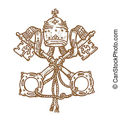 Vatican Symbols DESIGNED BY HAND, AND HAIR CROSS EMBLEM