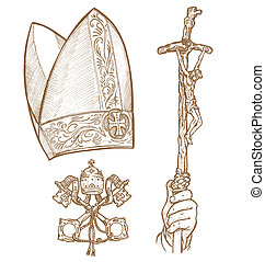 vatican symbolS - Vatican Symbols DESIGNED BY HAND, AND HAIR...