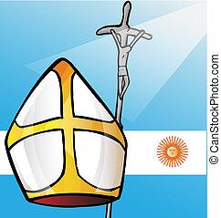 vatican symbolS whit argentina flag