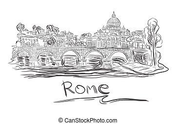vatican, vecteur, rome, croquis