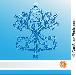 vatikán, jelkép, noha, argentina lobogó