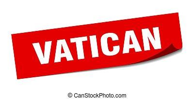 vatikanen, fyrkant, skalare, sticker., röd, underteckna
