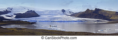 vatnajokull, glaciar, hielo, fjallsjokull, fluir, islandia, -, gorra