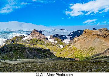 vatnajokull, gletscher, sonniger tag, ansicht