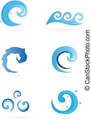 vatten, –, ikonen, vågor