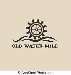 vatten, årgång, kvarn, gammal, illustration