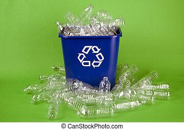vatten, återvinning, flaskor, plastisk