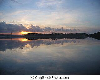 vatten, över, solnedgång