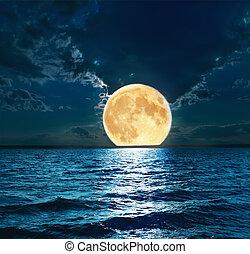 vatten, över, toppen, måne