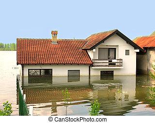 vatten, översvämning, -, hus