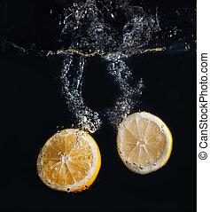 vatten, apelsin, plaska, citron, halvt