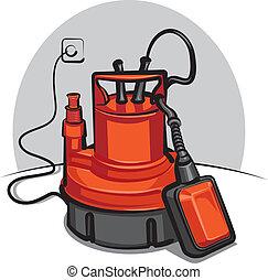 vatten, apparat, pump