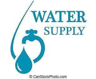 vatten, begrepp, tillförsel, ikon