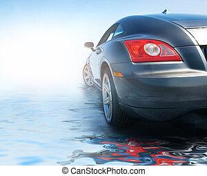 vatten, bil, sport, reflekterat