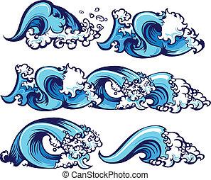 vatten, brakande, illustration, vågor