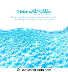 vatten, bubblar, bakgrund, lysande