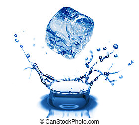 vatten, bubblar, in, blå