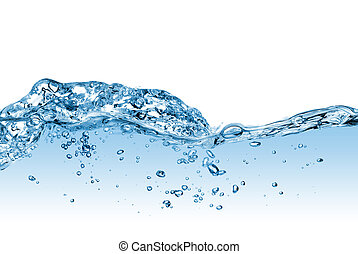 vatten, bubblar, plaska, isolerat, vit