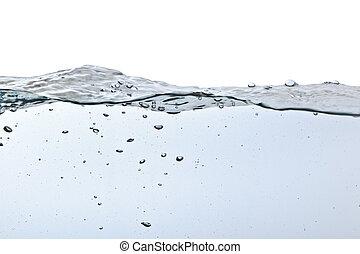 vatten, bubblar, vit, isolerat, luft