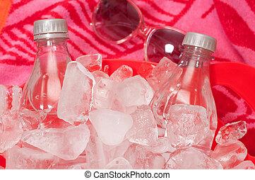 vatten, buteljera, solglasögon, is