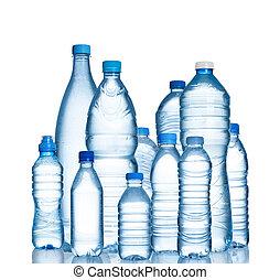 vatten buteljerar, plastisk, många