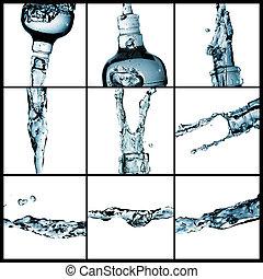 vatten, collage, plaska