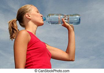vatten, drickande, kvinna