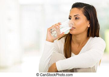 vatten, drickande, kvinna, ung